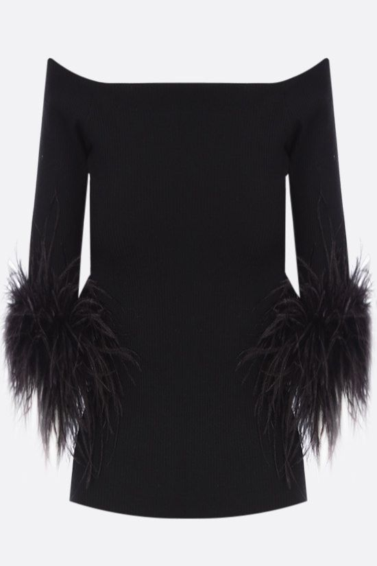 SAINT LAURENT: feather-detailed stretch wool top Color Black_1