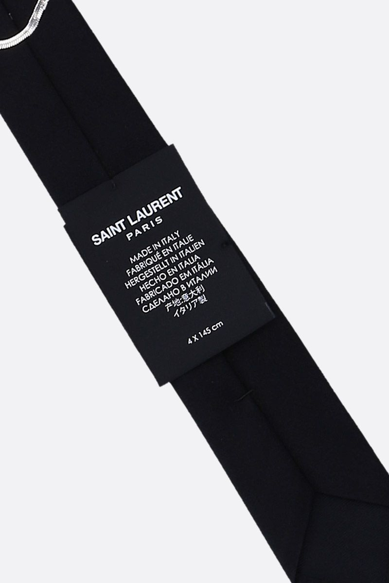 SAINT LAURENT: slim silk tie Color Black_2