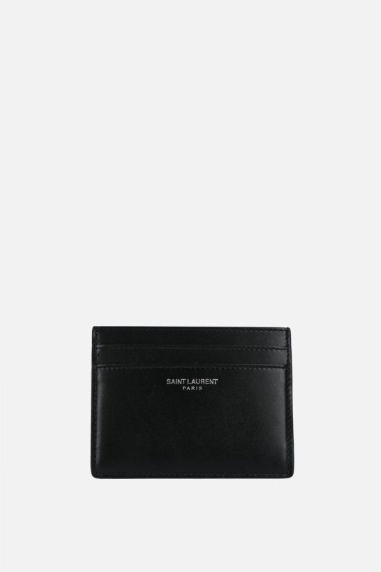 SAINT LAURENT: logo-detailed smooth leather card case Color Black_1