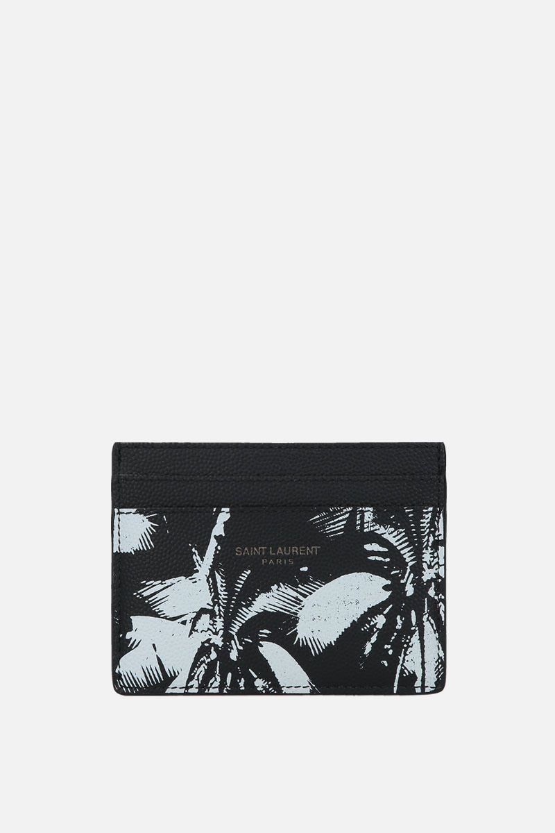 SAINT LAURENT: printed Grain de Poudre leather card case Color Black_1