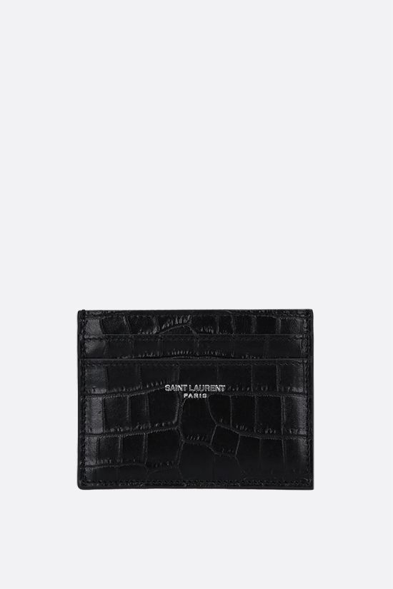SAINT LAURENT: crocodile-embossed leather card case Color Black_1