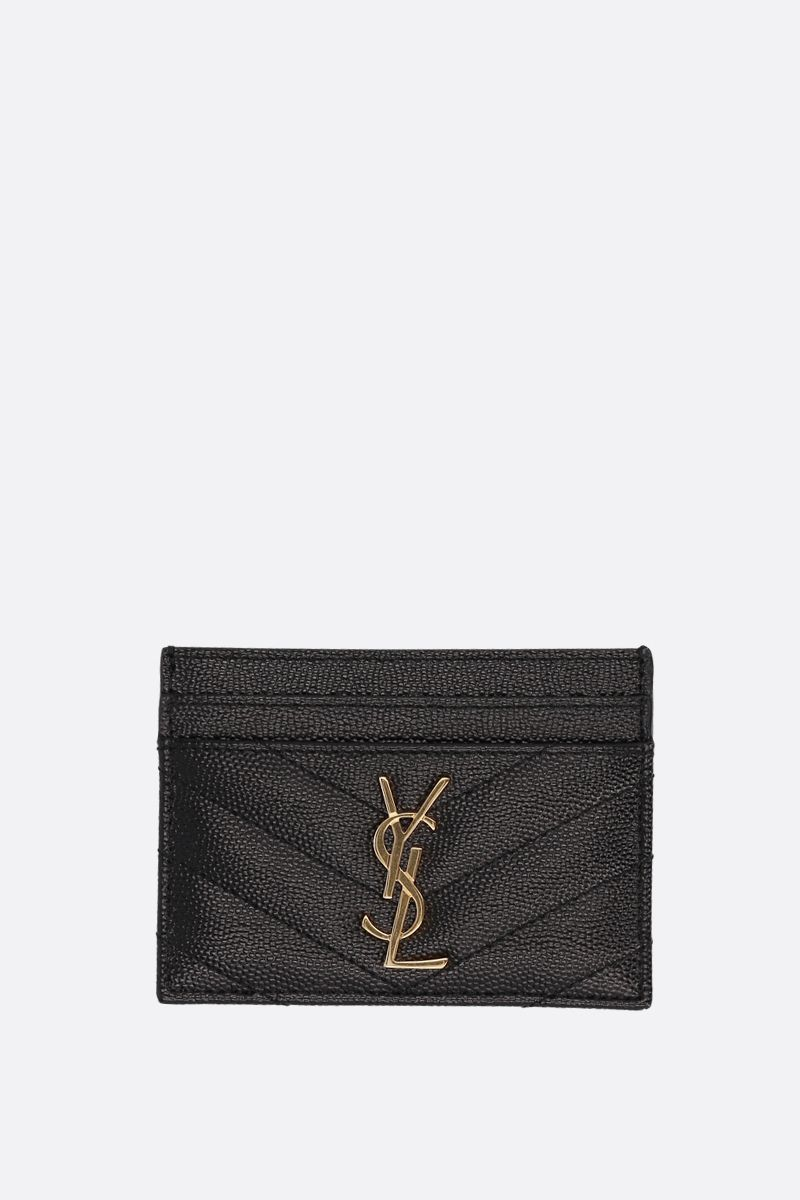 SAINT LAURENT: porta carte Monogram in pelle matelassè Colore Nero_1