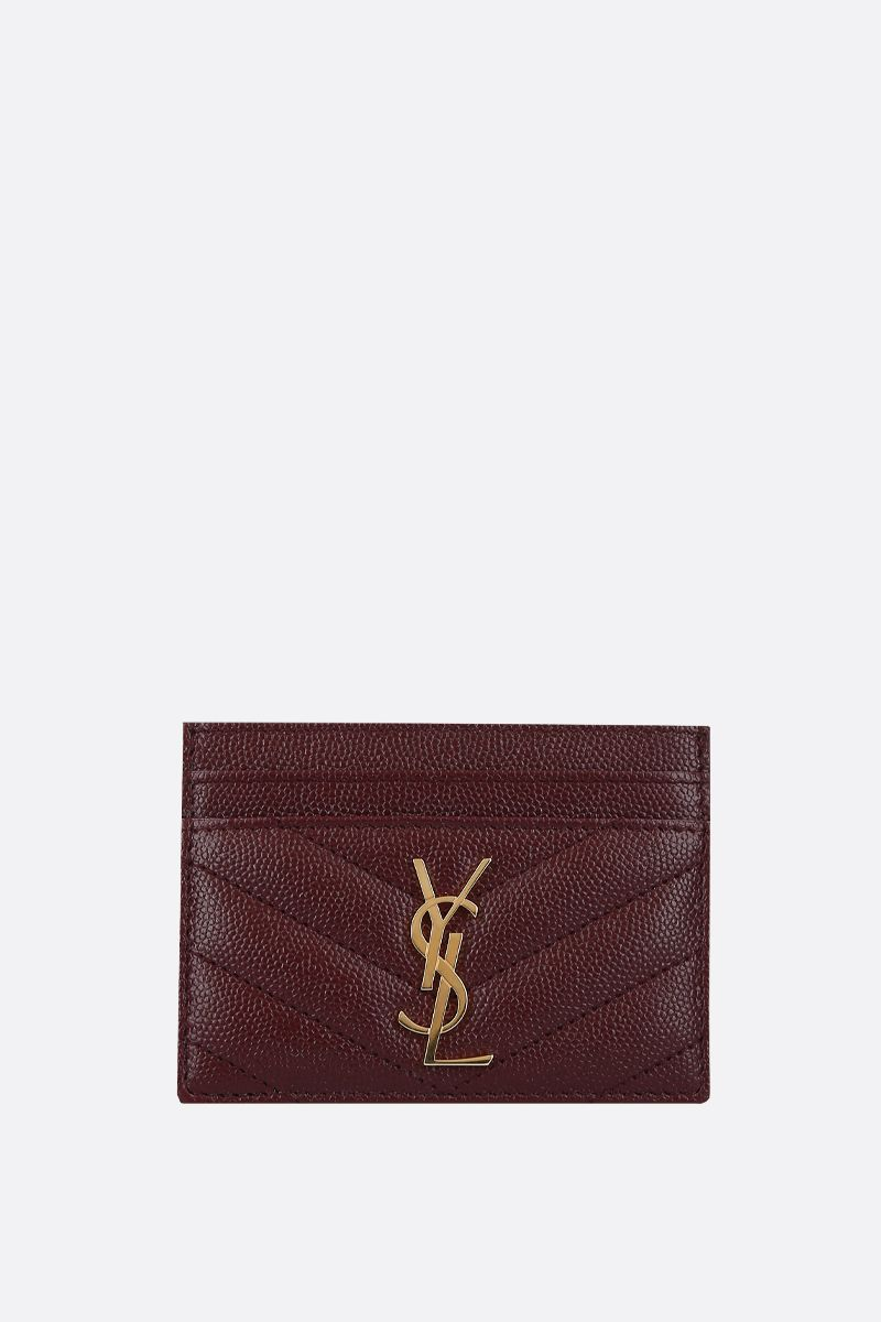 SAINT LAURENT: Monogram quilted leather card case Color Red_1