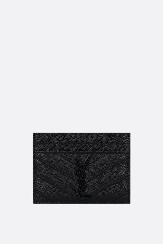 SAINT LAURENT: Monogram quilted leather card case Color Black_1