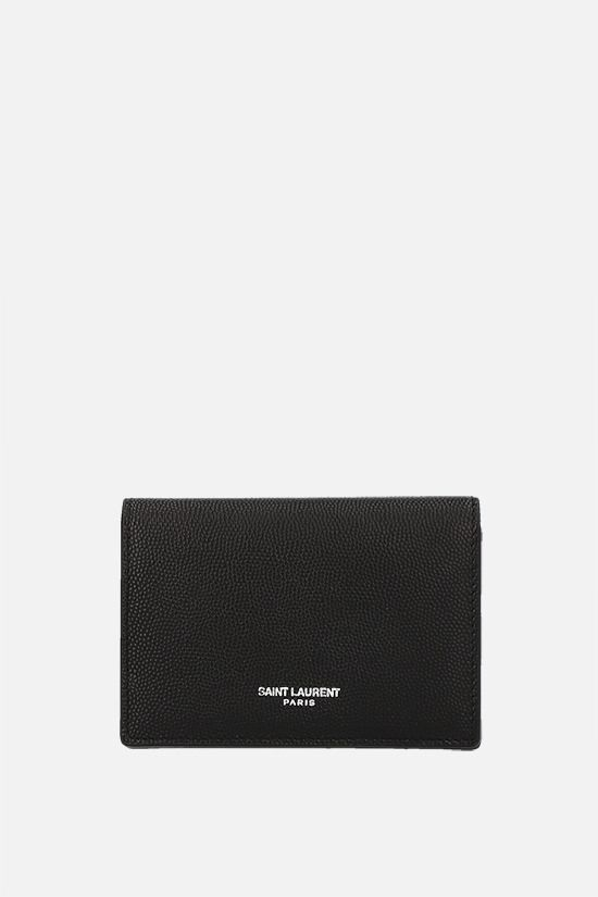 SAINT LAURENT: Grain de Poudre leather flap card case Color Black_1