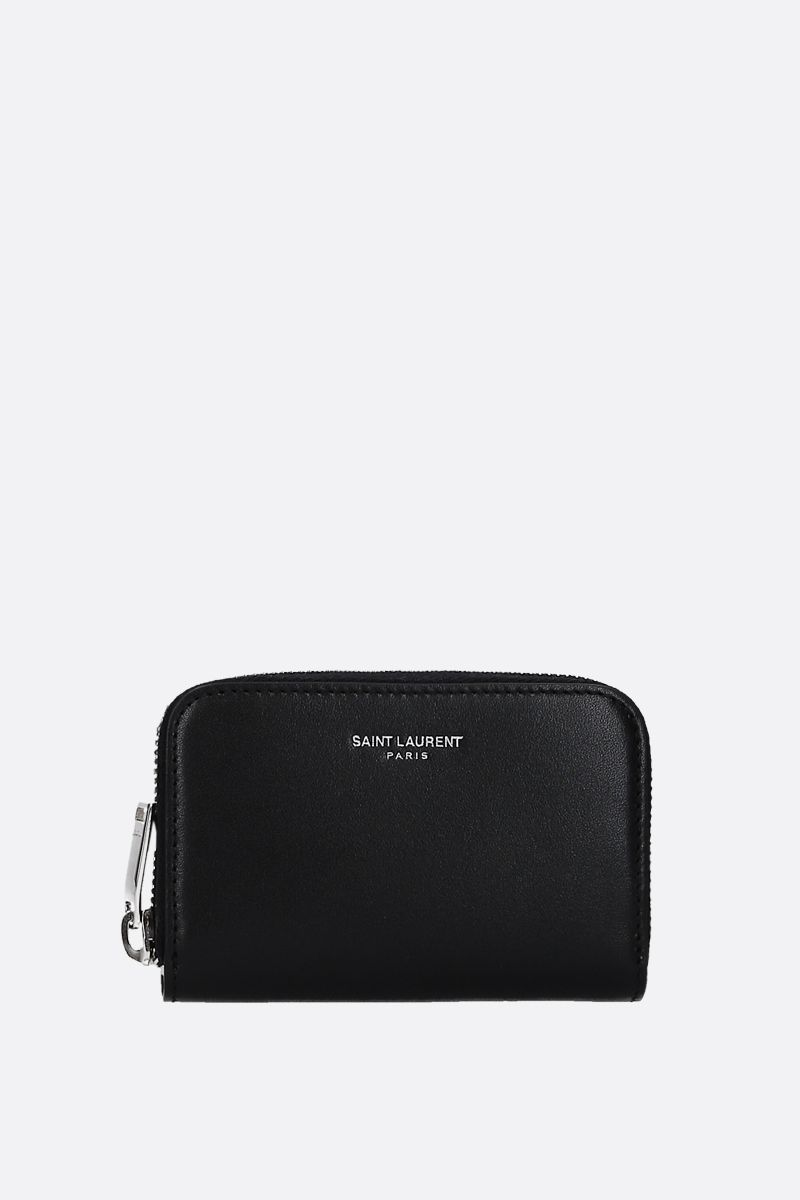SAINT LAURENT: smooth leather zip-around card case Color Black_1