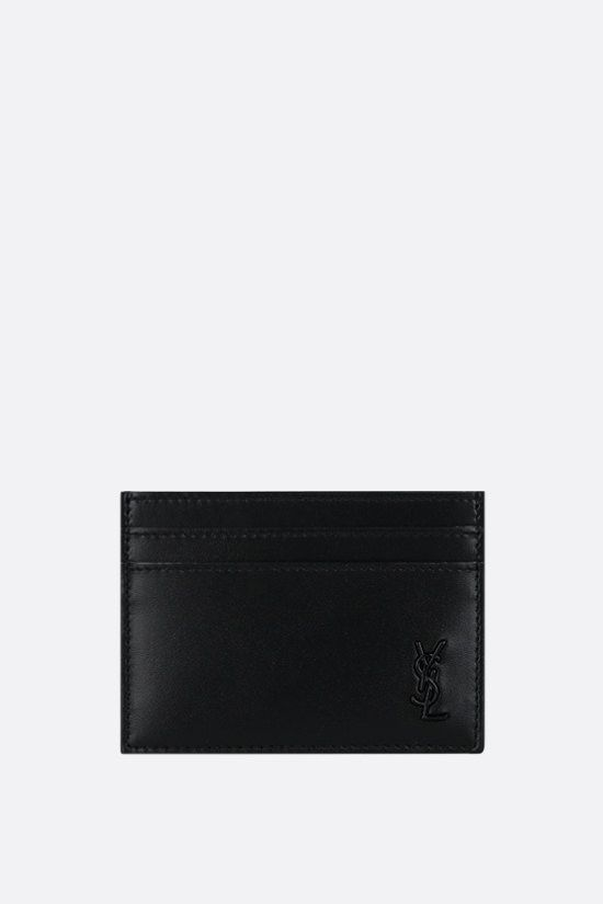 SAINT LAURENT: Monogram smooth card case Color Black_1