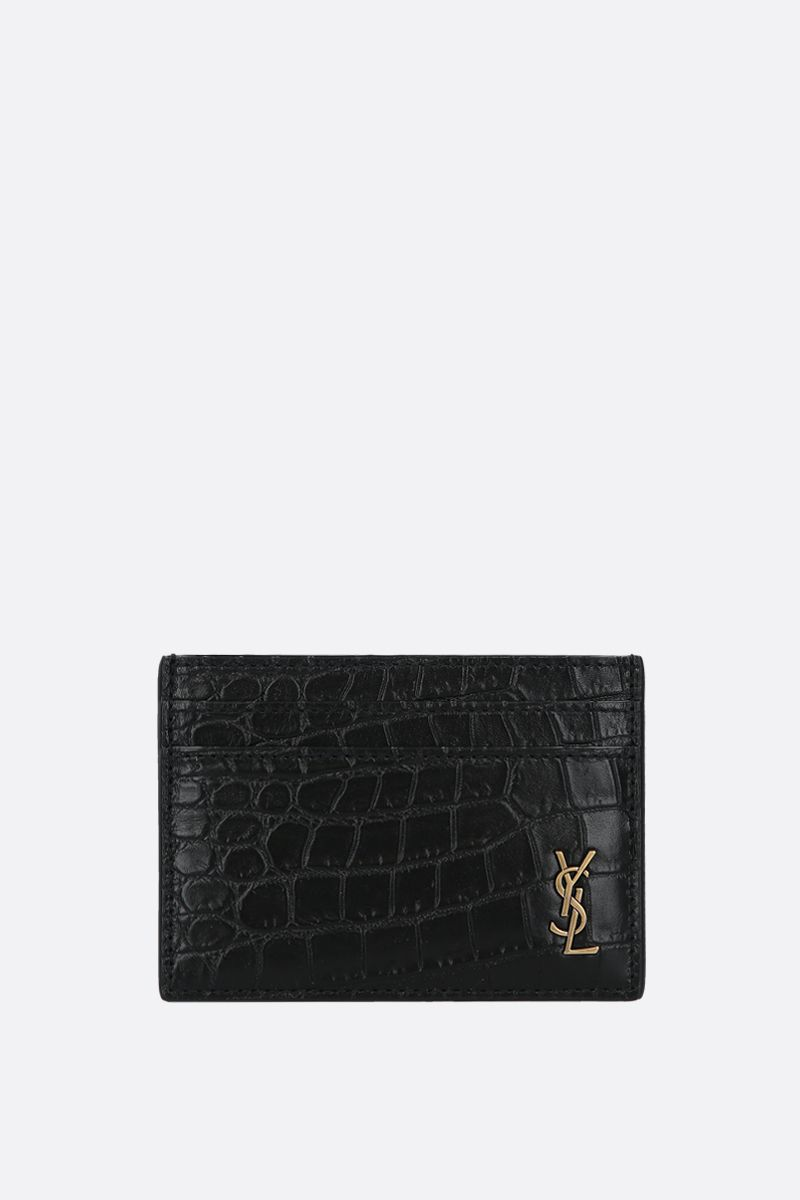SAINT LAURENT: porta carte Monogram in pelle stampa coccodrillo Colore Nero_1