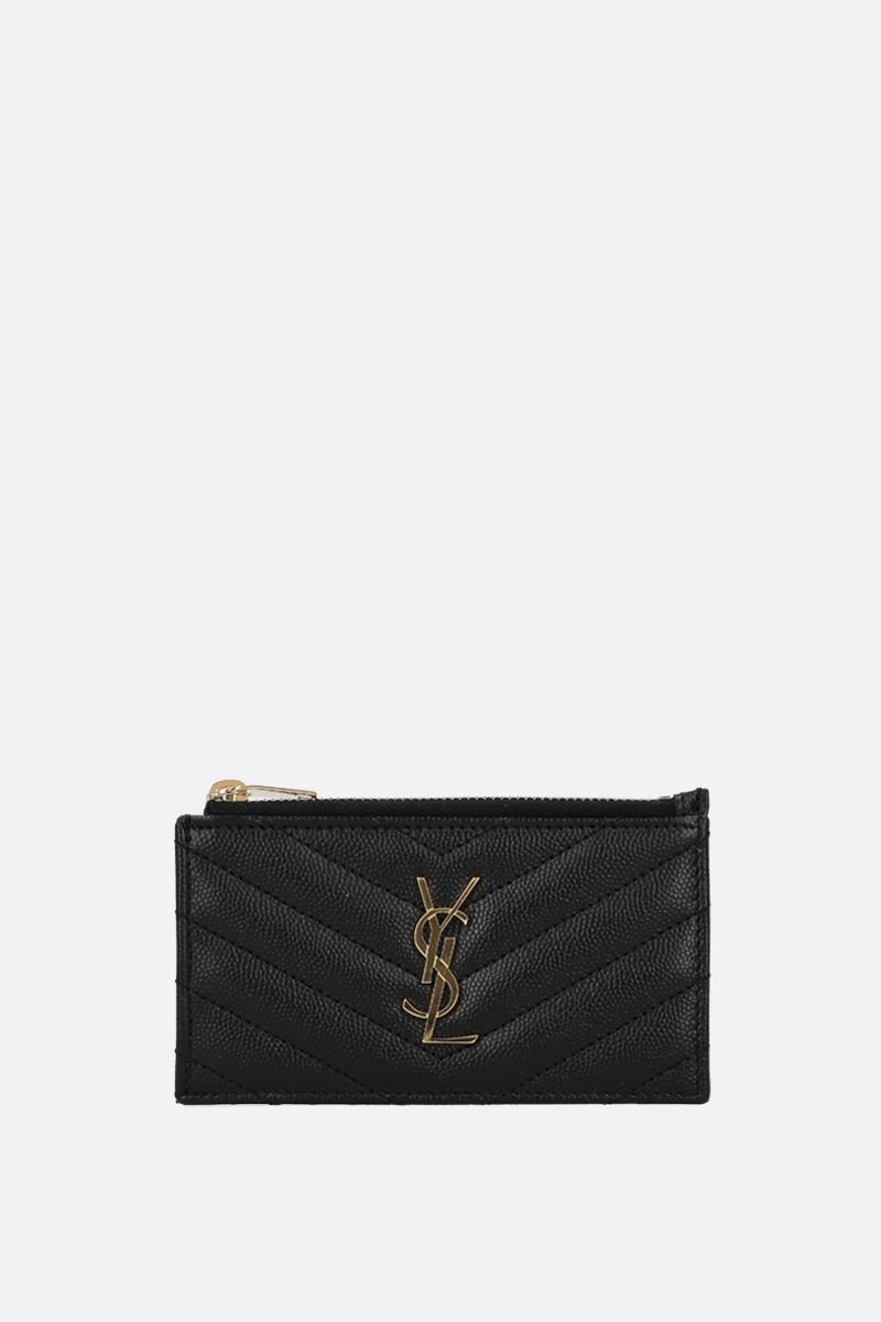SAINT LAURENT: porta carte con zip Monogram Fragments in pelle matelassè Colore Nero_1