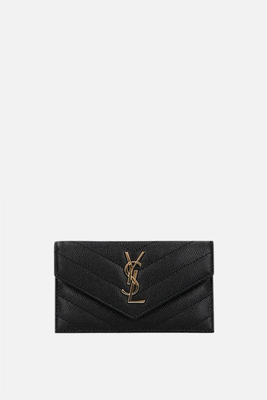 SAINT LAURENT: Monogram Fragments quilted leather zip card case Color Black_1