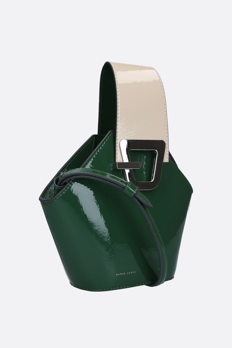 DANSE LENTE: Johnny mini top handle bag in patent leather Color Green_2