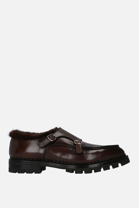 SANTONI: shiny leather monk-strap shoes Color Brown_1