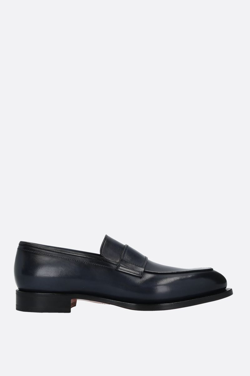 SANTONI: shiny leather loafers Color Blue_1