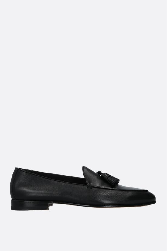 SANTONI: smooth leather loafers Color Black_1