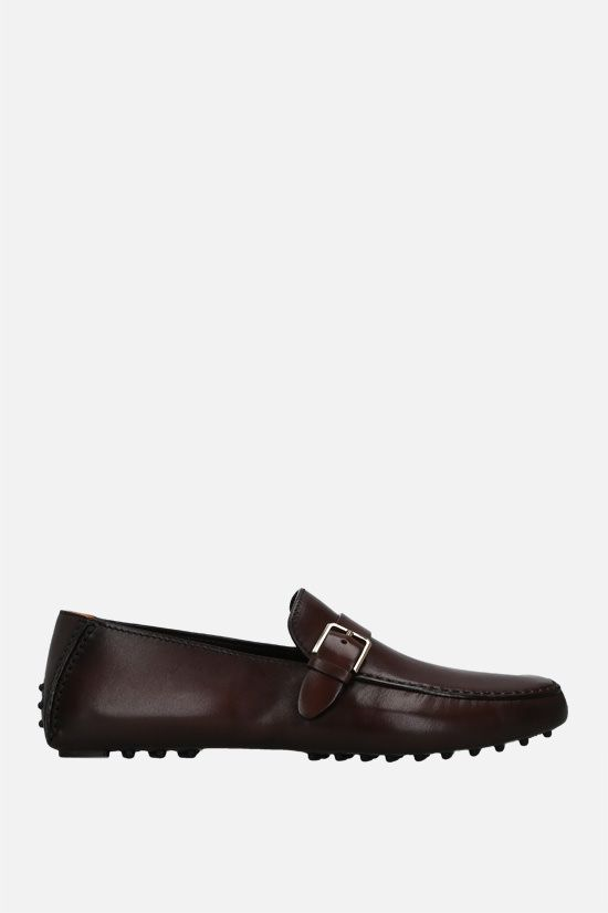 SANTONI: strap-detailed smooth leather loafers Color Brown_1