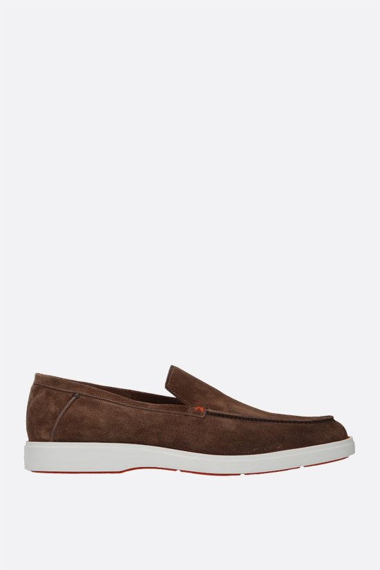 SANTONI: suede loafers Color Brown_1