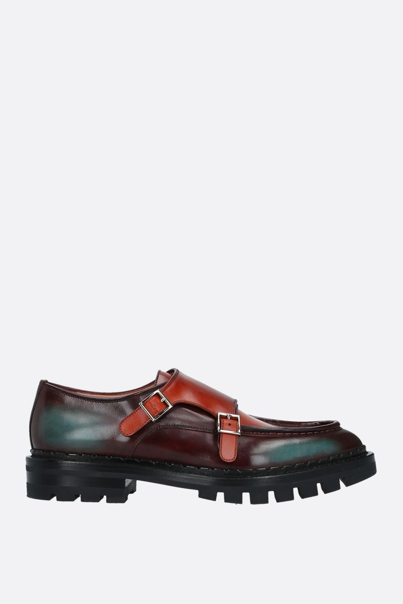 SANTONI: dyed leather double-buckle monkstrap shoes Color Red_1
