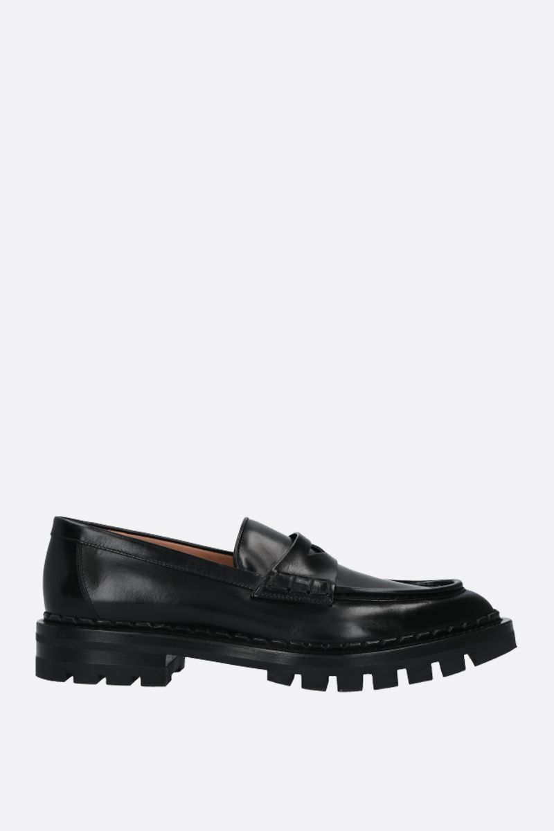 SANTONI: shiny leather loafers Color Black_1