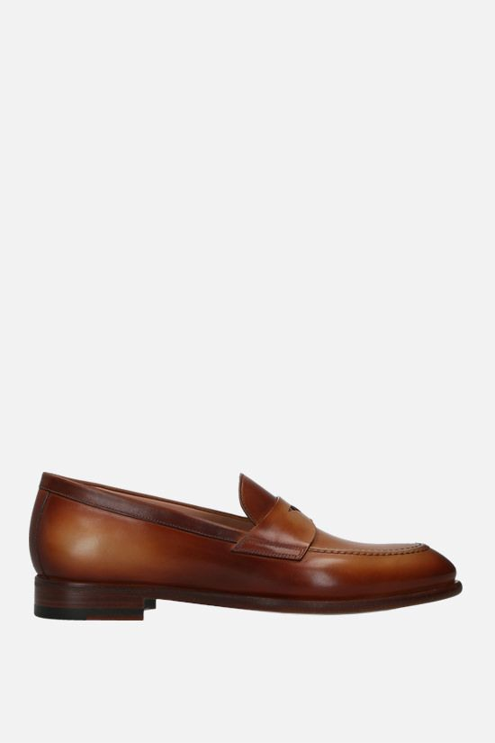 SANTONI: shiny leather loafers Color Brown_1