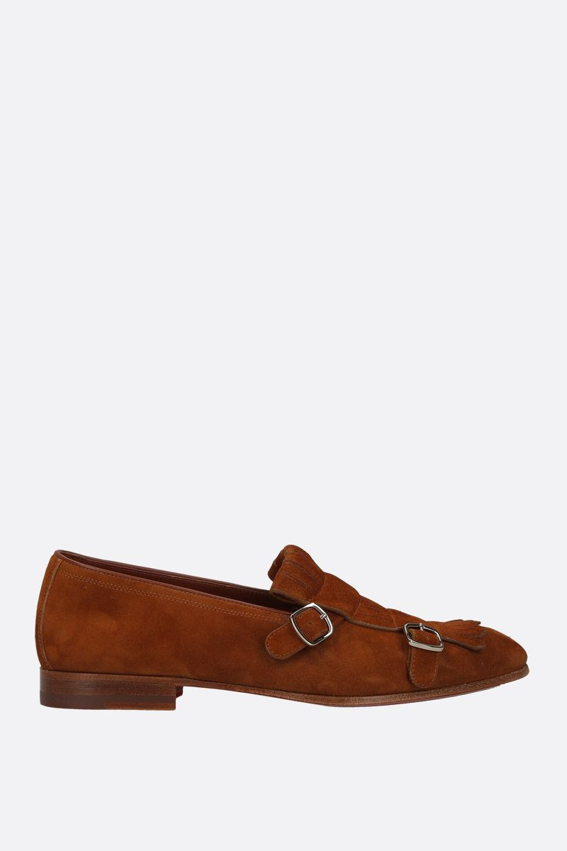 SANTONI: velvet suede loafers Color Brown_1