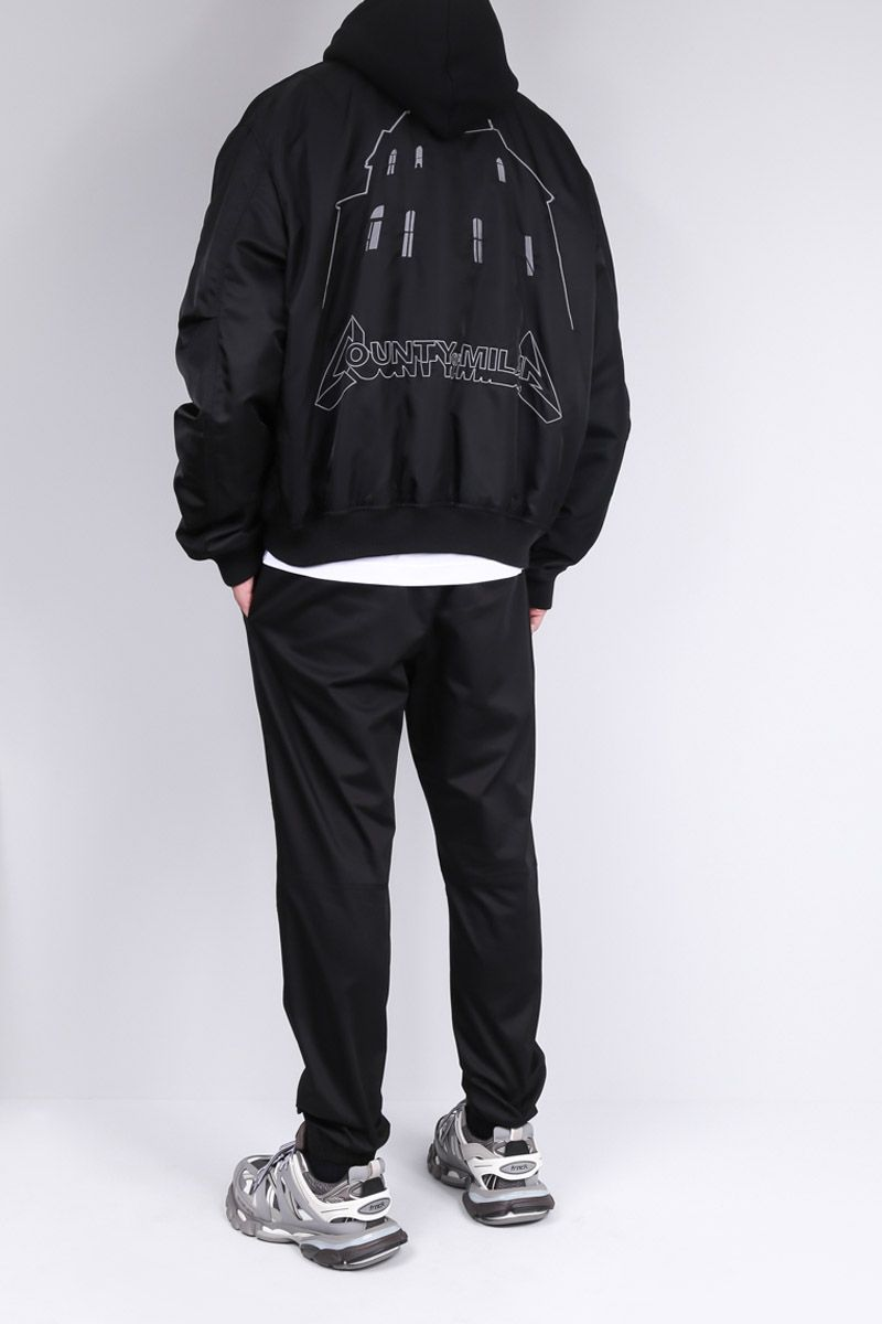 MARCELO BURLON COUNTY OF MILAN: Ghost House embroidery nylon bomber jacket_2