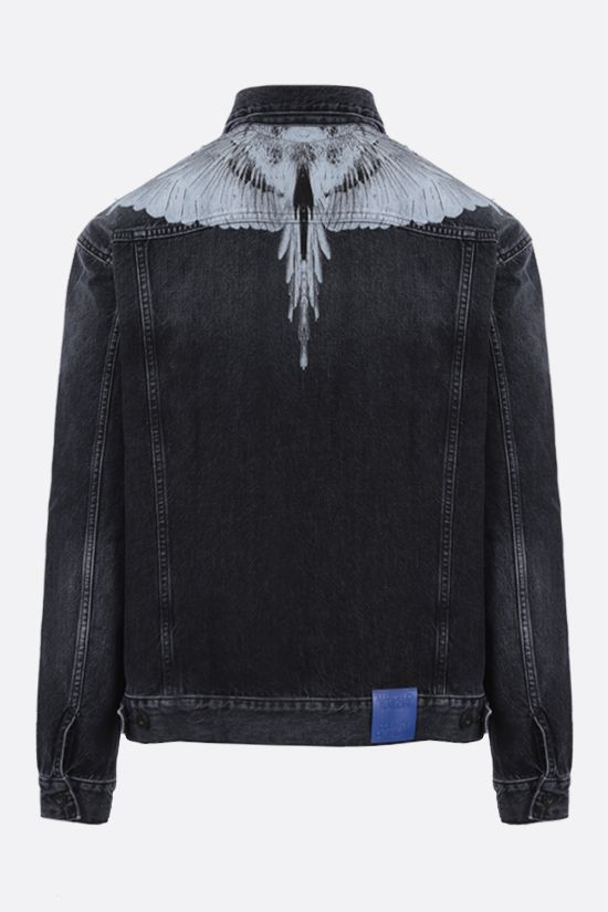 MARCELO BURLON COUNTY OF MILAN: giubbotto Wings in denim Colore Nero_2