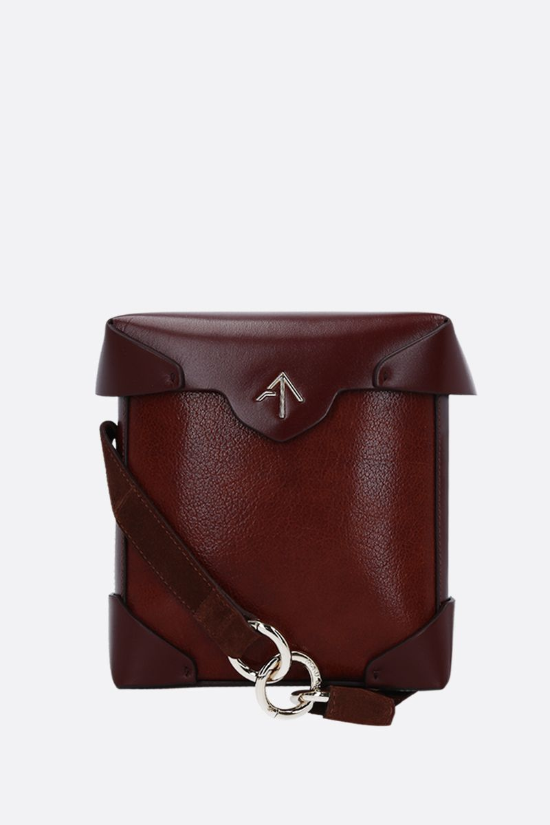 MANU ATELIER: Pristine Mini crossbody bag in textured leather Color Brown_1