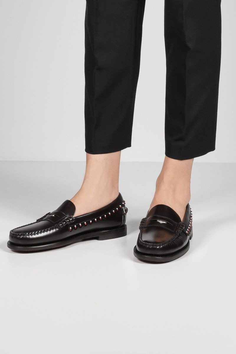 ALANUI: Dan bead-embellished smooth leather loafers Color Brown_2