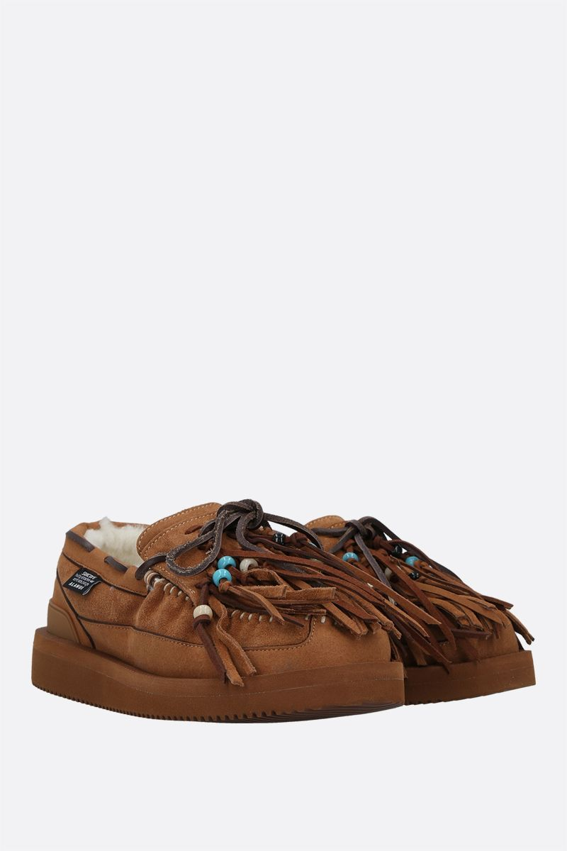 ALANUI: Own Suicoke fringed suede loafers Color Neutral_2