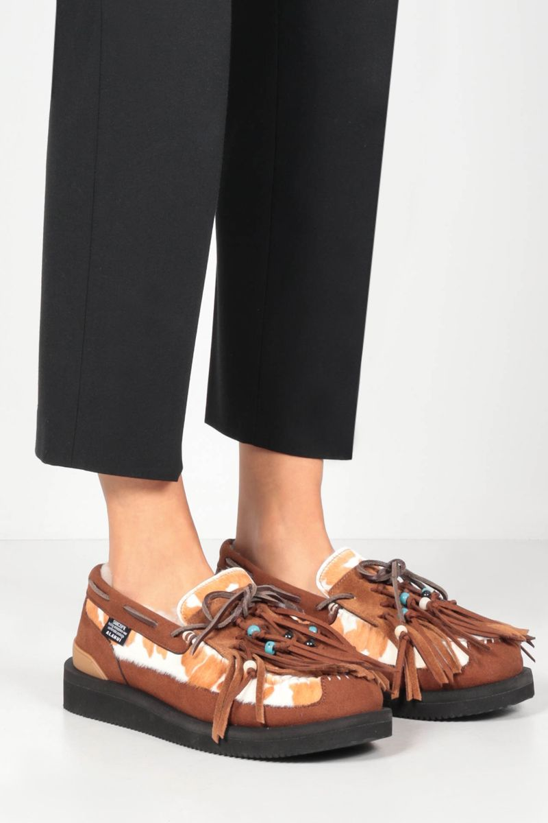 ALANUI: OWN Suicoke fringed suede and pony hair loafers Color Multicolor_2