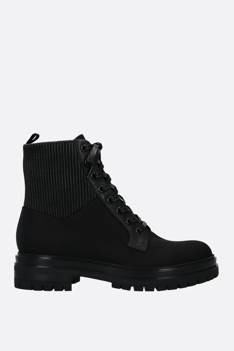 GIANVITO ROSSI: Martis nylon and smooth leather combat boots Color Black_1