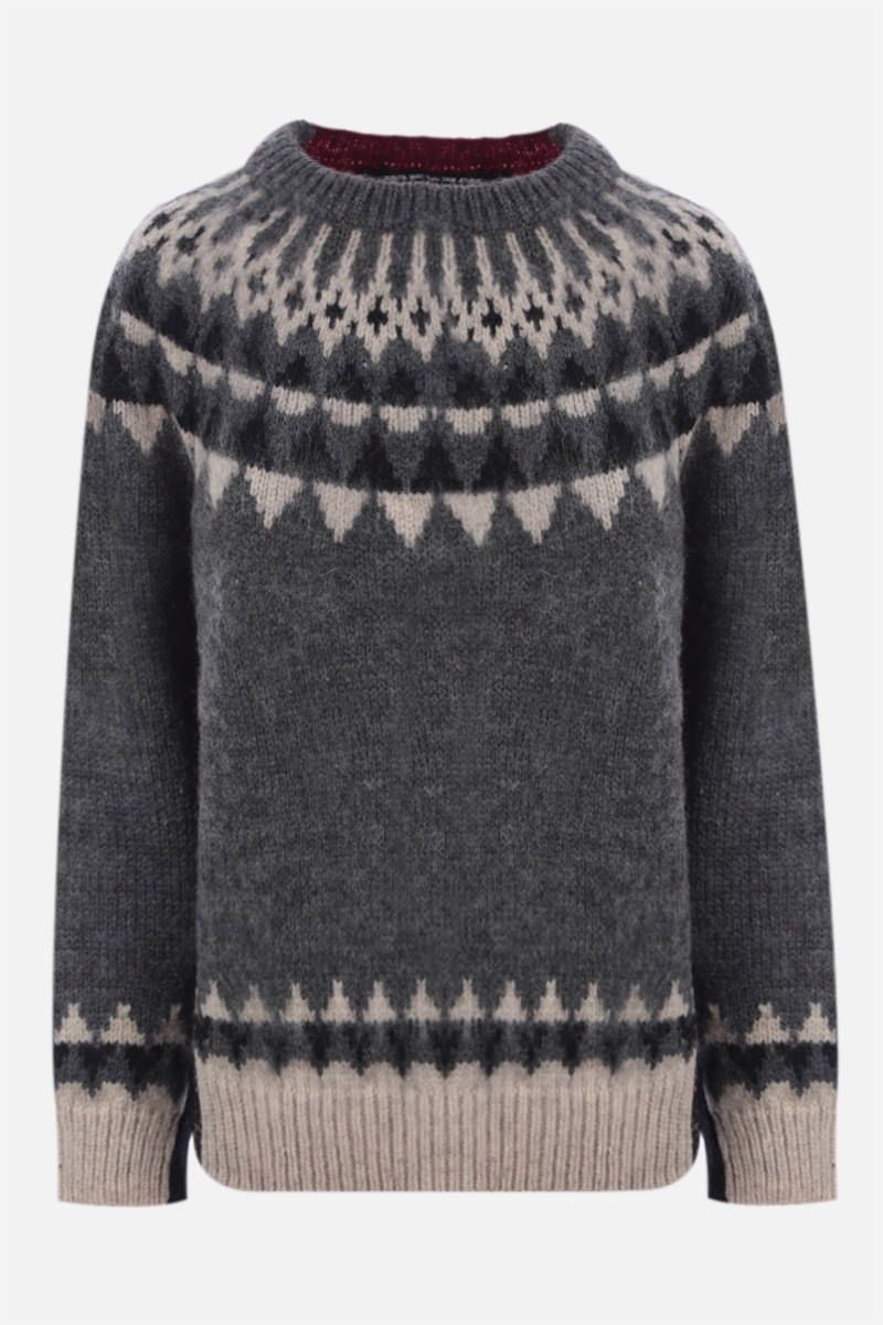 JUNYA WATANABE: pullover oversize in jacquard Colore Grey_1