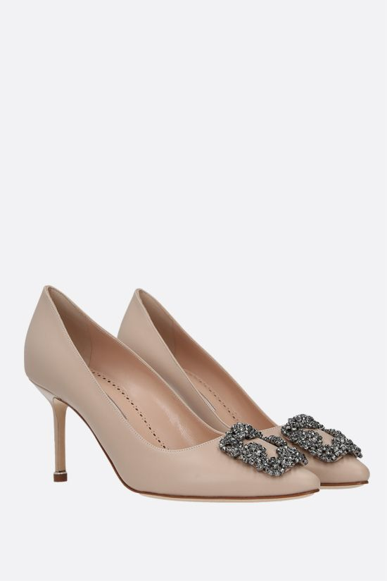 MANOLO BLAHNIK: Hangisi smooth leather pumps Color Neutral_2