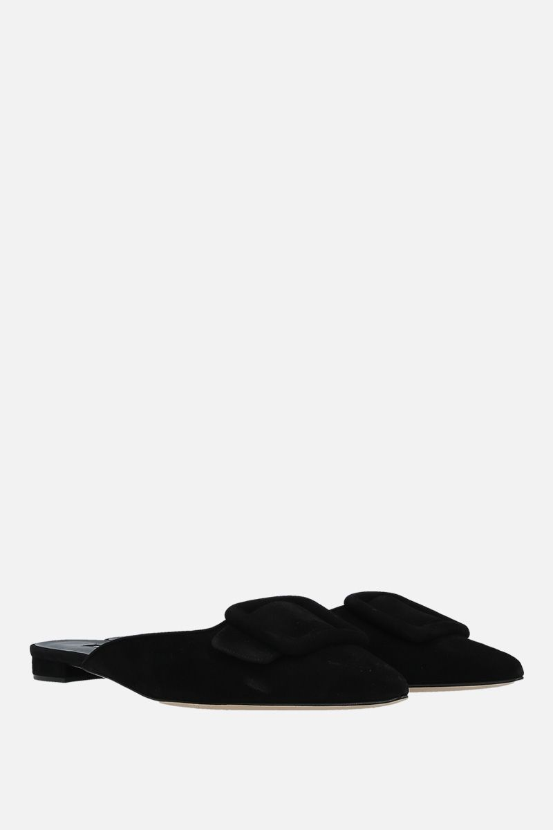 MANOLO BLAHNIK: Maysale velvet suede slippers Color Black_2