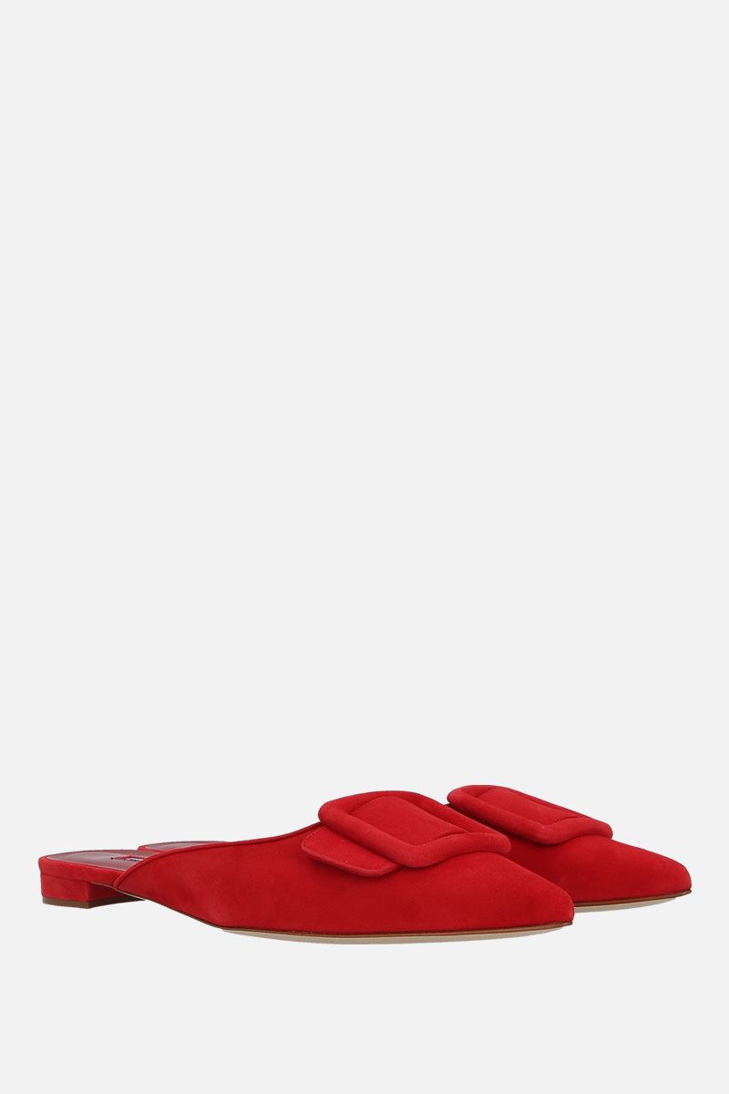 MANOLO BLAHNIK: Maysale velvet suede slippers Color Red_2