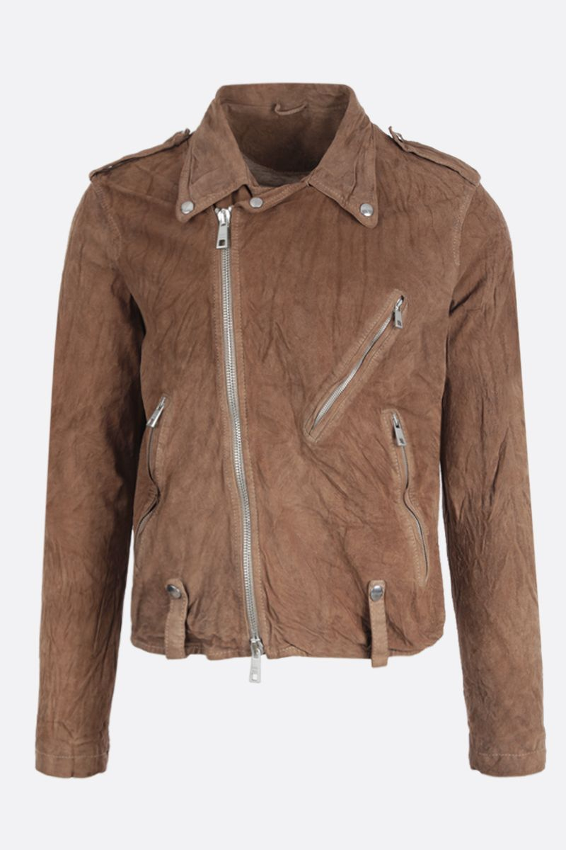 GIORGIO BRATO: reverse leather biker jacket Color Brown_1