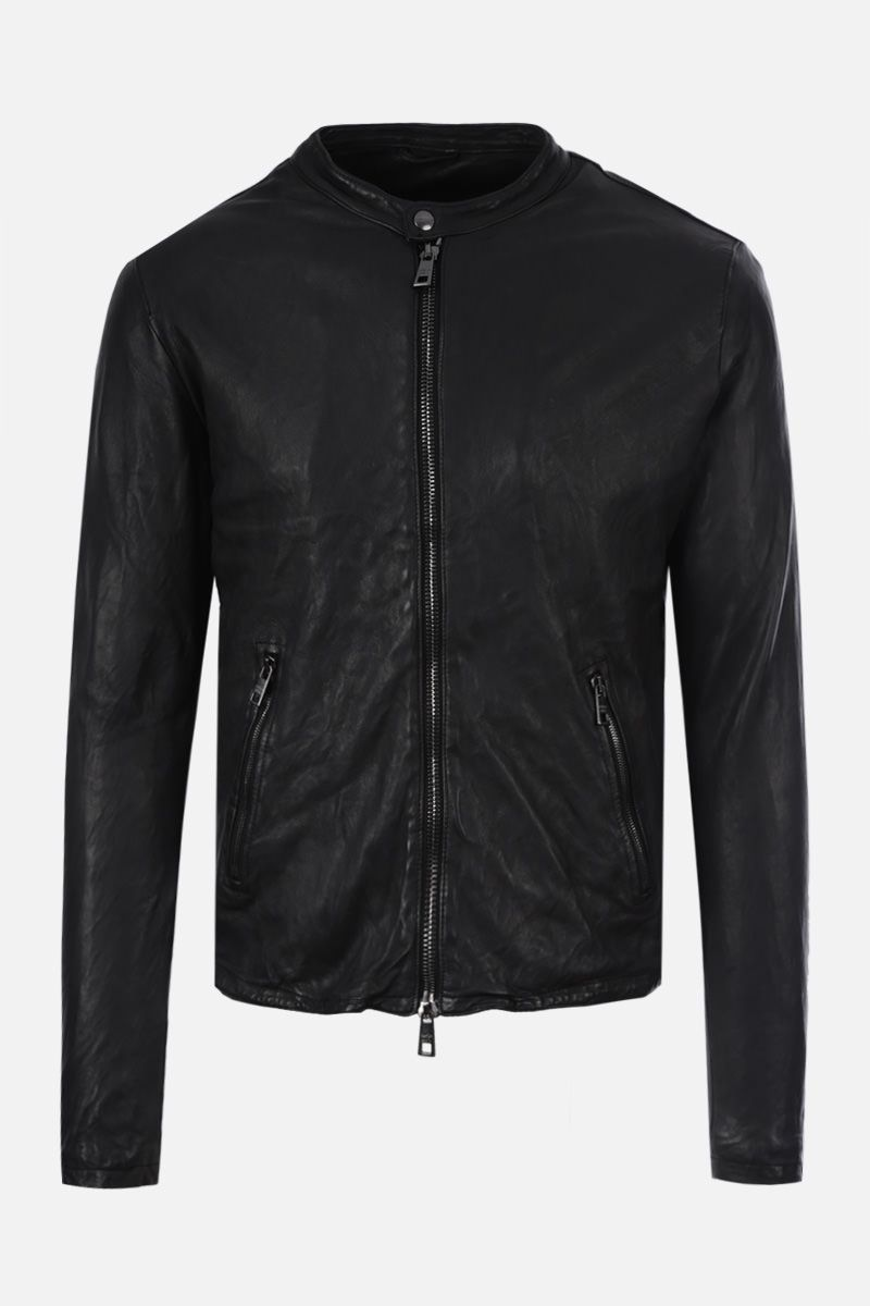 GIORGIO BRATO: soft leather biker jacket Color Black_1