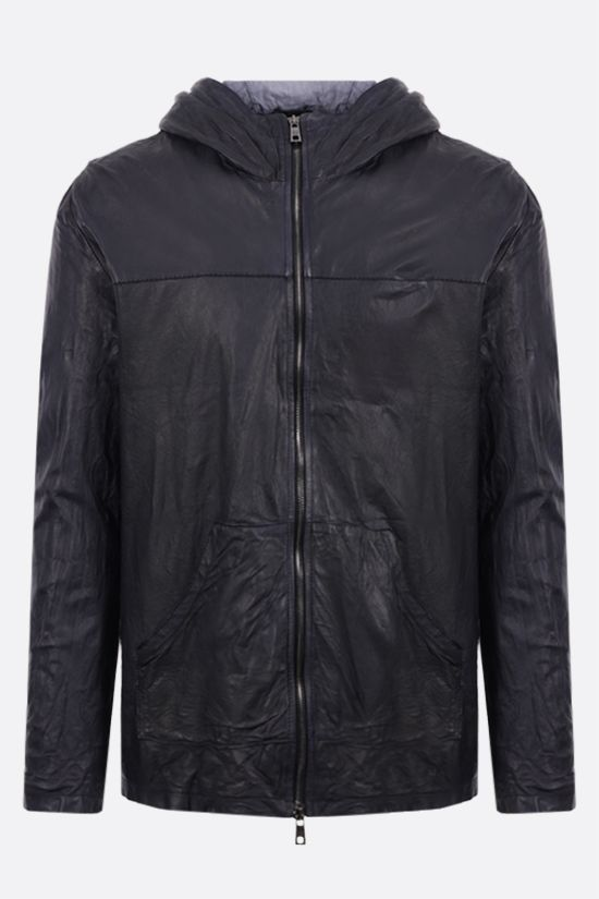 GIORGIO BRATO: full-zip crinkled-effect leather jacket Color Blue_1