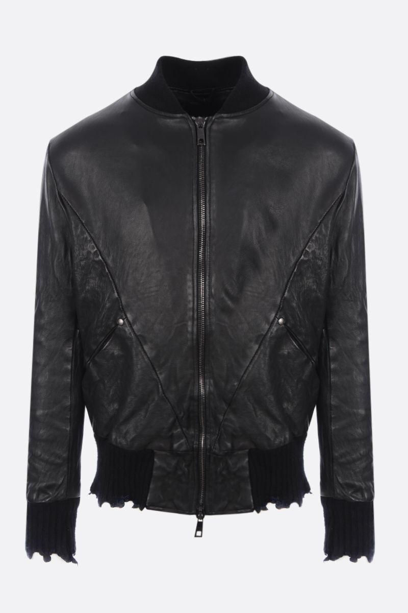 GIORGIO BRATO: leather bomber jacket with distressed-effect edges Color Black_1