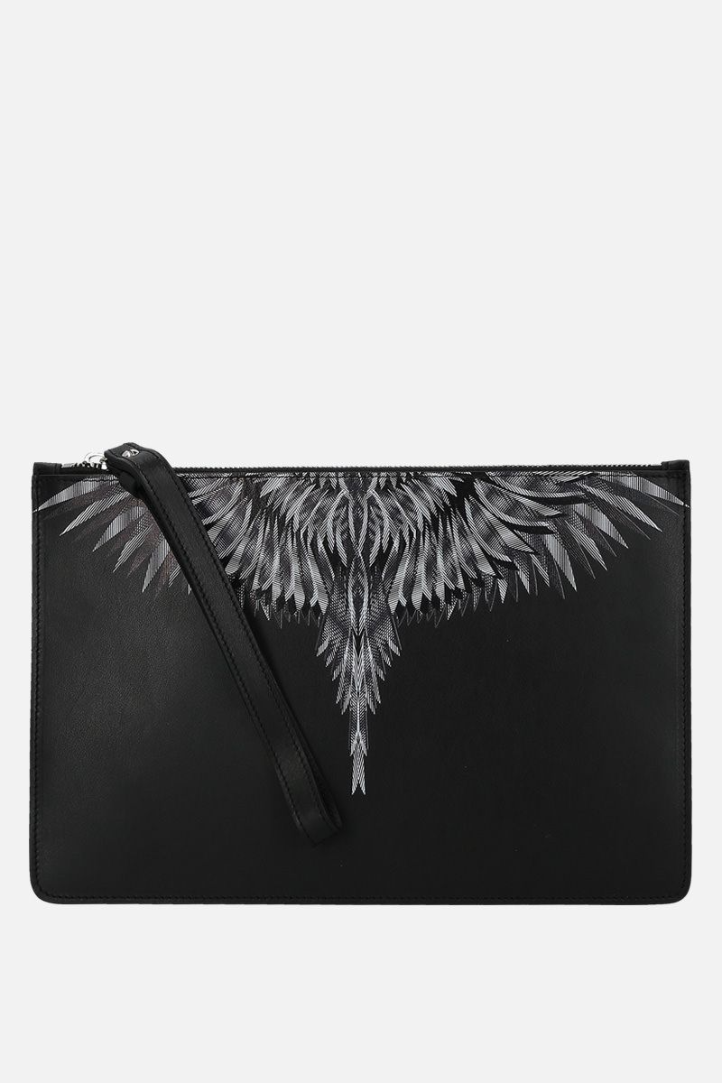 MARCELO BURLON COUNTY OF MILAN: clutch Sharp Wings in pelle liscia Colore Nero_1