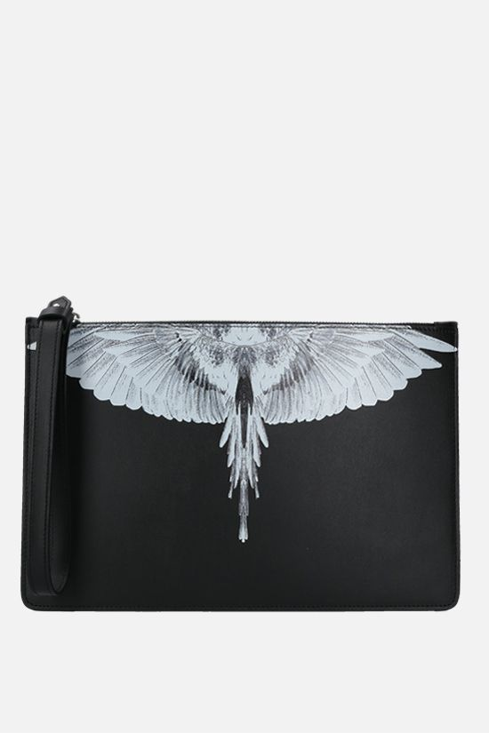 MARCELO BURLON COUNTY OF MILAN: Wings smooth leather clutch Color Black_1