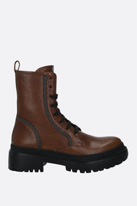BRUNELLO CUCINELLI: Precious Contour-detailed smooth leather combat boots Color Brown_1