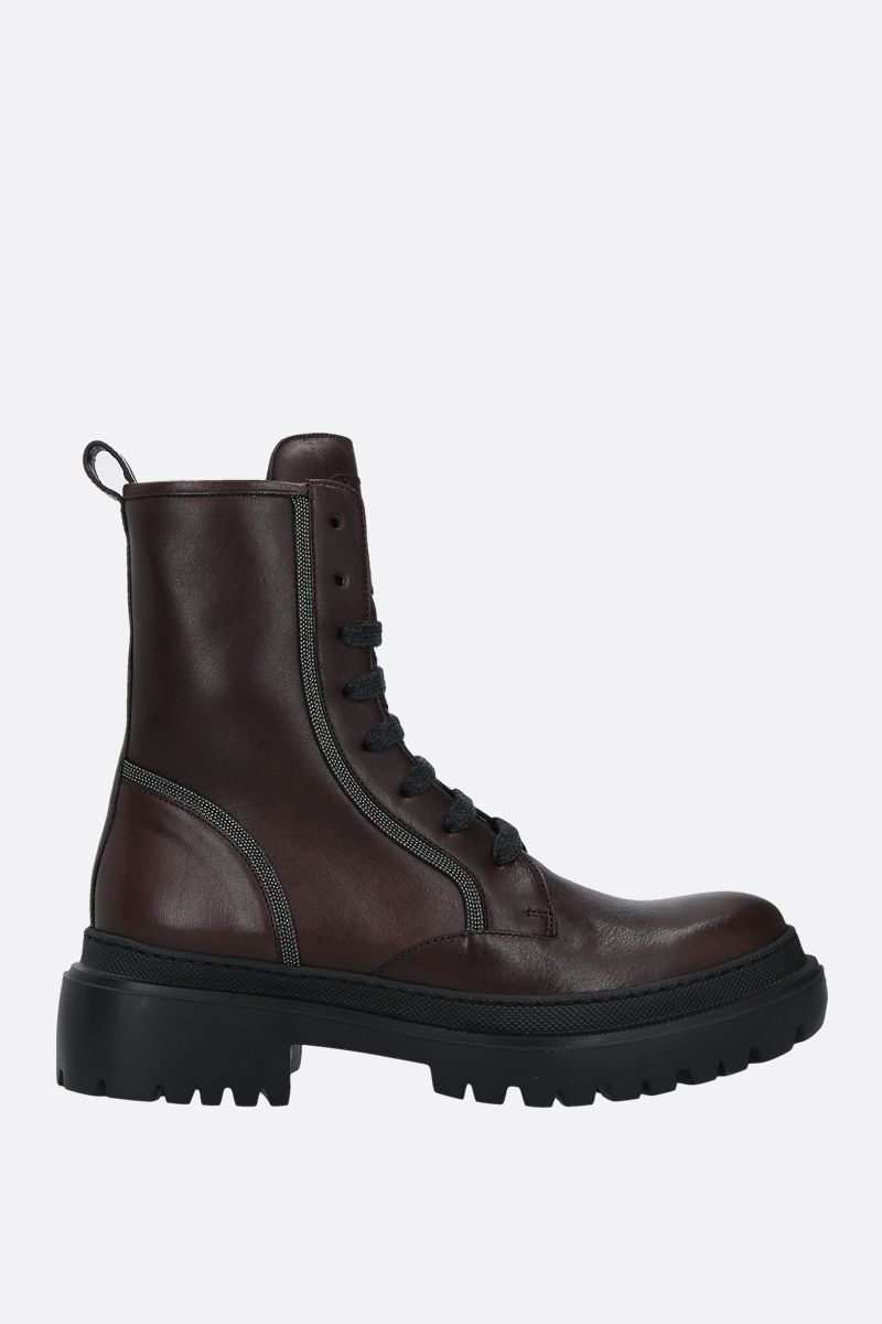 BRUNELLO CUCINELLI: Precious Contour-detailed smooth leather combat boots Color Multicolor_1