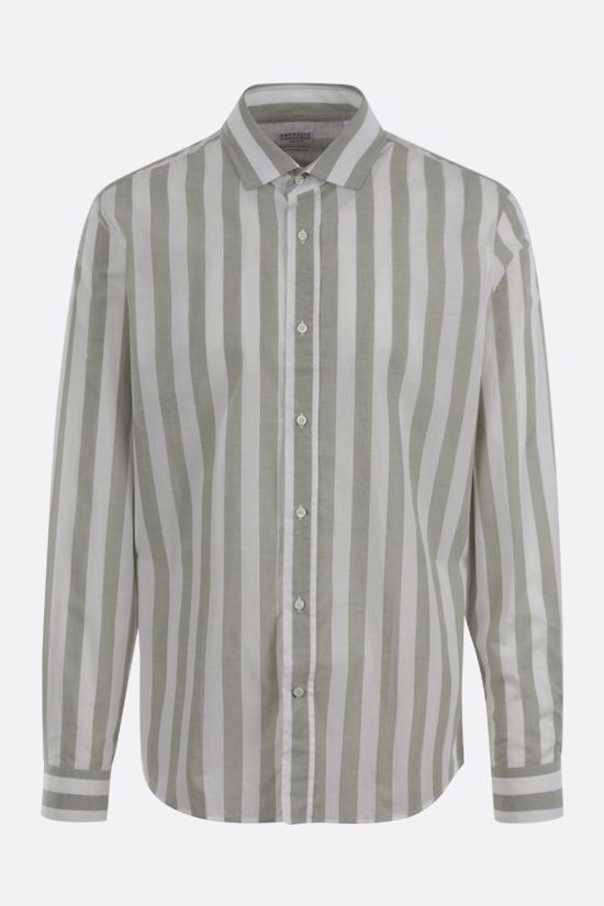 BRUNELLO CUCINELLI: striped cotton shirt Color Brown_1