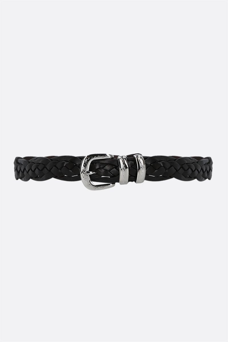 BRUNELLO CUCINELLI: braided leather belt Color Brown_1