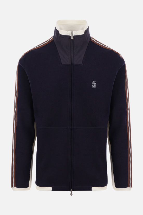 BRUNELLO CUCINELLI: logo print stretch cotton full-zip sweatshirt Color Blue_1