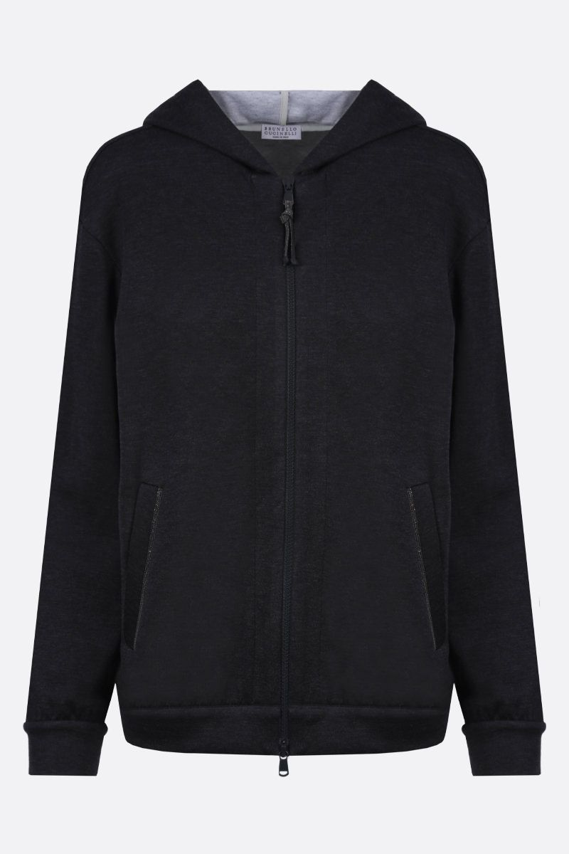 BRUNELLO CUCINELLI: monili-detailed cotton silk blend full-zip hoodie Color Grey_1