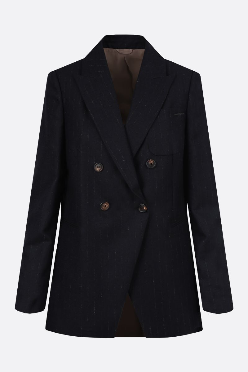 BRUNELLO CUCINELLI: pinstriped wool blend double-breasted jacket_1