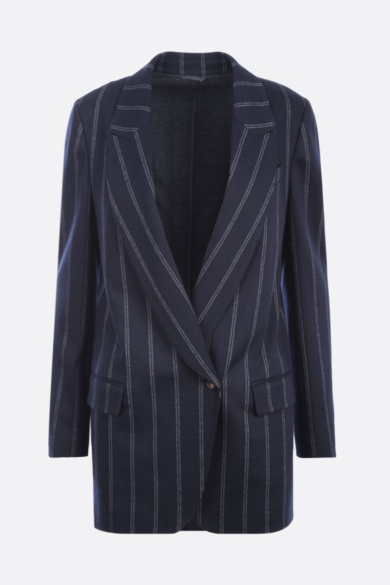 BRUNELLO CUCINELLI: double-breasted pinstriped cotton wool blend jacket Color Blue_1