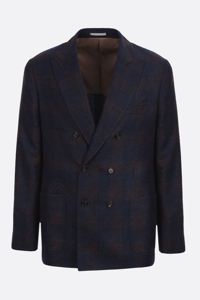 BRUNELLO CUCINELLI: check wool alpaca blend double-breasted jacket_1